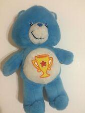 "Care Bears Champ Teddy Blue Trophy TCFC 2003 Soft Stuffed Animal Toy 14"""