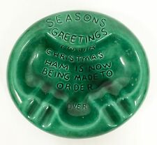 Vtg NAUGHTY RISQUE Pig ASHTRAY Green Seasons Greetings Christmas Ham Being Made