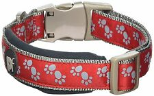Petface Signature Padded Dog Collar Large Red Paws With Grey Stitching