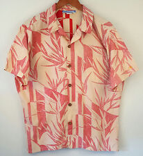 Vintage OP Ocean Pacific Reverse Print Bamboo Hawaiian Shirt Size Large L