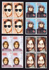 Quattro blocchi di 4 FRANCOBOLLI Antigua & Barbuda Musicista John Lennon Musica The BEATLES