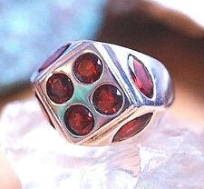 Extrem Mächtig Massiv Silberring 59 Handarbeit Granat Rot Ring Silber Siegelring
