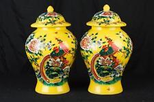 Pair Chinese Ming Porcelain Ginger Vases Urns Temple Jars Pheasant