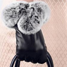 Neu Frauen Damen Leder Kaninchen Pelz Warm Handschuhe Vollfingerhandschuh 2018
