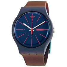 Swatch New Gentleman Mens Navy Blue Watch SUON708