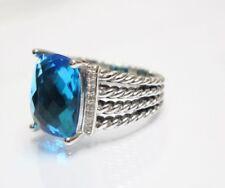 David Yurman Wheaton Ring with Blue Topaz and Diamonds 16x12mm Size 8