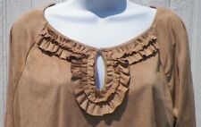 Ladies Size XL Extra Large Top Suede Sensation Latte Camel Soft Warm New Tags