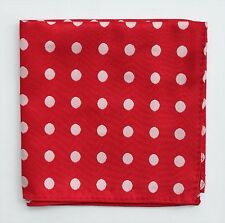 Hankie Pocket Square Handkerchief Red with White Spot