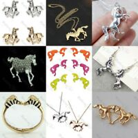 HORSE JEWELLERY gold/silver tone NECKLACE/EARRINGS animals horserider EQUESTRIAN