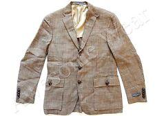 New Ralph Lauren Polo Italy Linen Houndstooth Plaid Beige Sport Coat Jacket 42 L