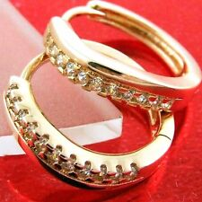 EARRINGS HOOPS HUGGIE REAL 18K ROSE G/F GOLD DIAMOND SIMULATED DESIGN FS3AN576