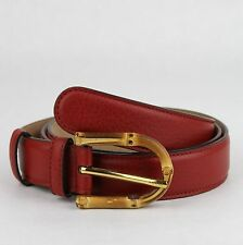$480 Gucci Women's Rose Red Leather Belt With Bamboo Buckle 90/36 322954 6227