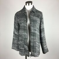 Chicos Design Womens Blazer Light Jacket Size 2 Gray Textured Unlined Zip Front