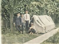 c. 1900 Young Boys Camping Backyard Tent Vintage Photo Glass Plate Negative