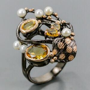 Handmade SET Citrine Ring Silver 925 Sterling  Size 8.5 /R168113