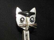 "VTG  hand-made J. Nestor 12"" silver-tone heavy metal cat sculpture figurine"