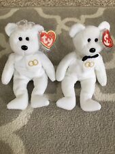 Ty Beanie Babies Wedding Couple Pair Mr. Mrs. 2001 Retired Bear w/ Tag Protector
