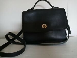 RARE VINTAGE COACH LEATHERWARE BLACK WILLIS COURT TURNLOCK BAG PRE~1990s!!