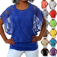 G394 Damen Longshirt 2in1 Shirt Tunika Bluse T-Shirt Tank Top Batwing Spitze