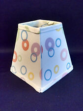 """Waverly White Fabric Chandelier Lampshade Lamp Shade Vintage Pastel Circles 5"""""""