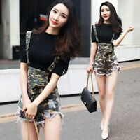 Fashion Womens Summer Casual Overalls Camo Suspender Short Pants Shorts Trousers