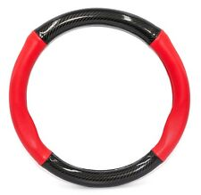 15inch Carbon Fiber with Red Leather Car Steering Wheel 3D Cover Universal Type
