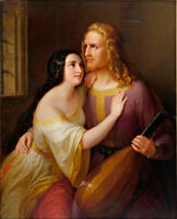"""oil painting handpainted on canvas """"King Farewell to his beloved Lucia  """""""