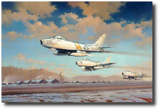Hunting Party by Robert Watts - F-86 - Signed by Four  Pilots - Aviation Art