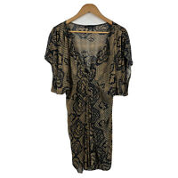 Portmans Womens Kaftan Dress Size 12 Brown Short Sleeve Boho Style