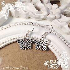 Orecchini Farfalla Butterfly Earrings Argento Cute Vintage Hipster Regalo Donna