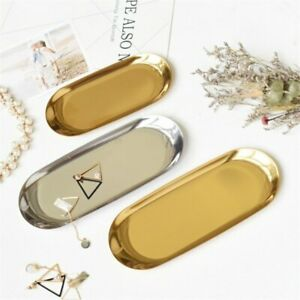 Colorful Metal Storage Tray Gold Oval Fruit Plate Jewelry Display Tray