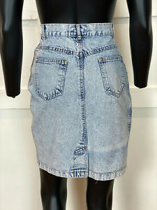 1990s Vintage Jean Studded Pencil Mini Skirt Size Small (Juniors 9/10)