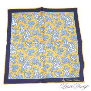NWT Brooks Brothers Lemon Yellow Blue Piped Foulard Silk Paisley Pocket Square