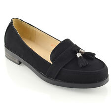 WOMENS LOAFERS FLAT BLACK TASSEL LADIES CASUAL WORK SCHOOL SHOES PUMPS SIZE 3-8