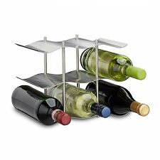 Portabottiglie in acciaio inox per 9 bottiglie, design moderno in metallo