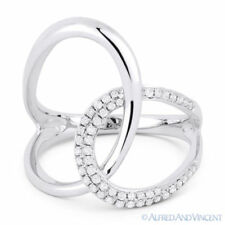 Fashion Ring in 14k White Gold 0.25ct Round Cut Diamond Right-Hand Overlap Loop