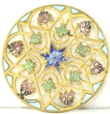 LARGE VICTORIAN ANTIQUE BRASS FRENCH ENAMEL 6 COLOR BUTTON