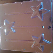 CHRISTMAS STAR TYPE CHOCOLATE LOLLIPOP MOULD 75MM / 3 INCH 3 CAVITY