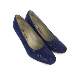 c2dcf208d0ed St. John Women s Classic Royal Blue Embellished Leather Heels Pumps Italy 6  B