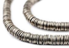 Silver Flat Disk Heishi Beads 6mm White Metal 16 Inch Strand