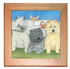 """Cairn Terrier Dog Kitchen Ceramic Trivet Framed in Pine 8"""" x 8"""""""