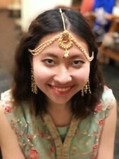Maang Matha Passa Patti Tikka Bollywood Indian Hair Accessory Pearls Gold T76
