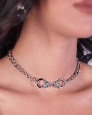 Handcuff Pendant Women w Rhinestone Necklace Silver Plated New