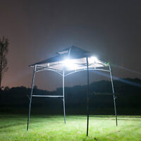 BBQ Gazebo Grill Metal Barbecue Canopy Outdoors Party Tent Sun Shade Lights