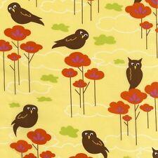 Robert Kaufman Hot Couturier Owl Owls Lemon Yellow OOP Fabric Yard