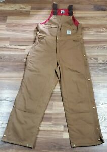 Carhartt Mens 38 x 32 R04 Brown Bib Overalls Traditional Duck Quilt Lined