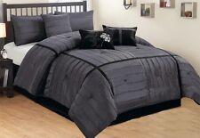 King Comforter Checkered Pattren Faux Silk Chorcoal Grey & Black 7-pcs Set