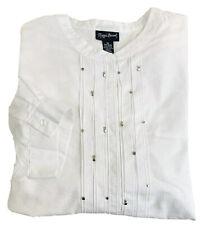 Maggie Barnes Womens White Studded Shirt Size 5XL 34/36W 3/4 Sleeve Lightweight