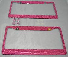 2 Pink Bling Glitter Crystal RhineStone License Plate Frame Car Auto