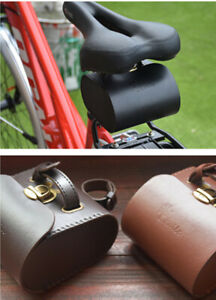 Retro Leather Bicycle Tail Bag Bike Rear Saddle Bag Cycling Seat Pouch Rear